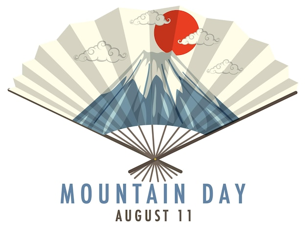 Fan japonais avec mountain day le 11 août bannière de police