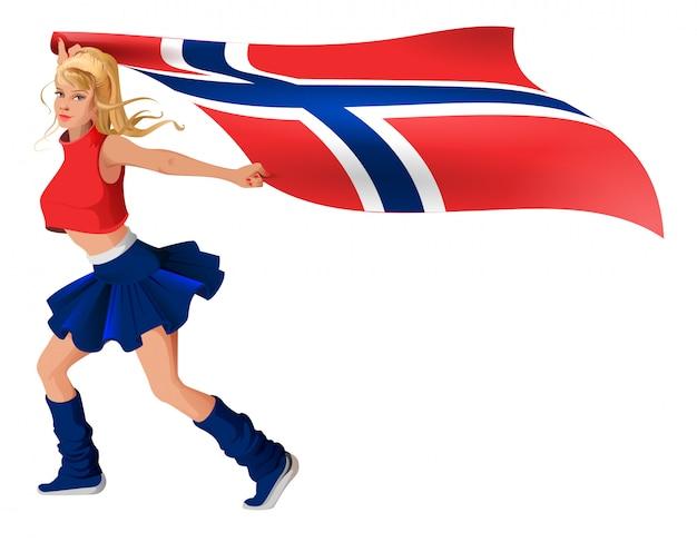 Fan de jeune fille blonde tenant le drapeau de la norvège
