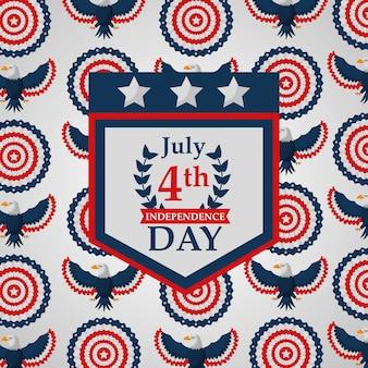Fanion aigle décoration fond d'indépendance américaine