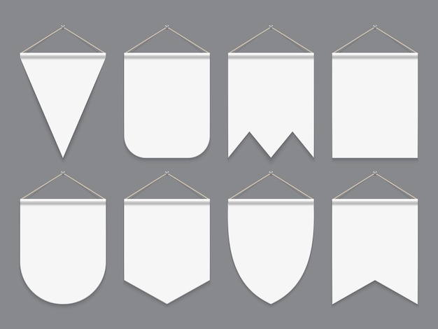 Fanion blanc. accrocher des drapeaux vides en tissu. bannières extérieures en toile publicitaire. maquette de vecteur de fanions