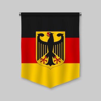 Fanion réaliste 3d avec le drapeau de l'allemagne