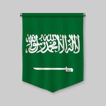 Fanion réaliste 3d avec le drapeau de l'arabie saoudite