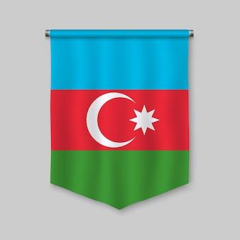 Fanion réaliste 3d avec le drapeau de l'azerbaïdjan