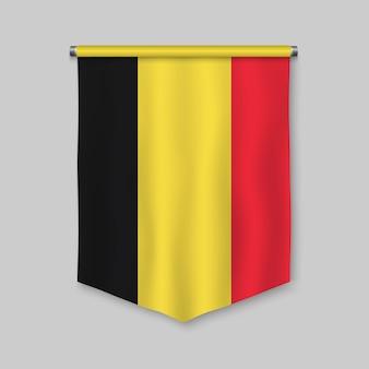 Fanion réaliste 3d avec le drapeau de la belgique