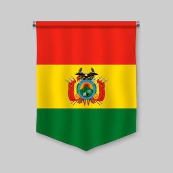 Fanion réaliste 3d avec le drapeau de la bolivie