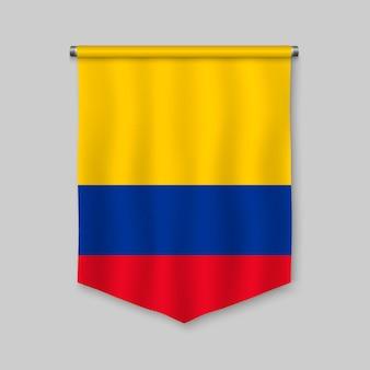 Fanion réaliste 3d avec le drapeau de la colombie