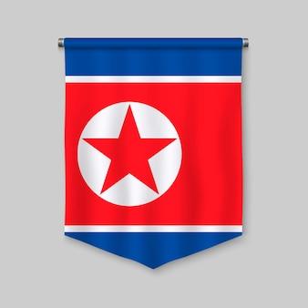Fanion réaliste 3d avec le drapeau de la corée du nord