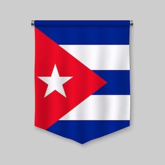 Fanion réaliste 3d avec le drapeau de cuba