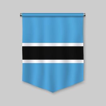 Fanion réaliste 3d avec le drapeau du botswana
