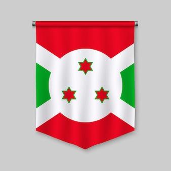 Fanion réaliste 3d avec le drapeau du burundi
