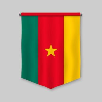 Fanion réaliste 3d avec le drapeau du cameroun