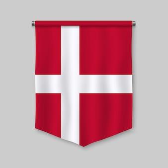 Fanion réaliste 3d avec le drapeau du danemark