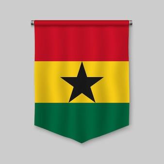 Fanion réaliste 3d avec le drapeau du ghana