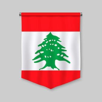 Fanion réaliste 3d avec le drapeau du liban