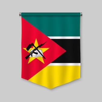 Fanion réaliste 3d avec le drapeau du mozambique