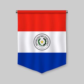 Fanion réaliste 3d avec le drapeau du paraguay