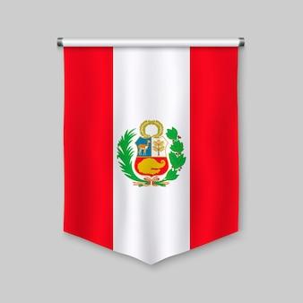 Fanion réaliste 3d avec le drapeau du pérou