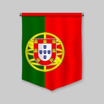 Fanion réaliste 3d avec drapeau du portugal
