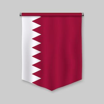 Fanion réaliste 3d avec le drapeau du qatar