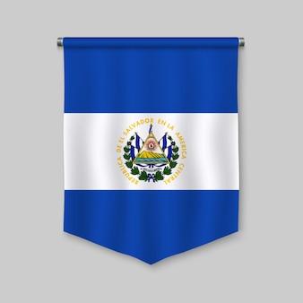 Fanion réaliste 3d avec le drapeau du salvador