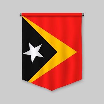 Fanion réaliste 3d avec le drapeau du timor oriental