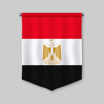 Fanion réaliste 3d avec drapeau de l'egypte