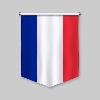 Fanion réaliste 3d avec le drapeau de la france