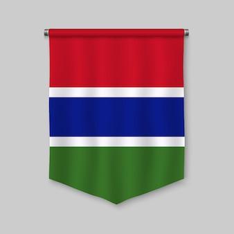 Fanion réaliste 3d avec le drapeau de la gambie