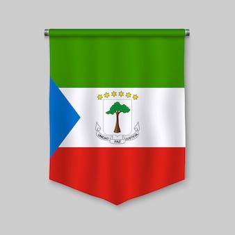 Fanion réaliste 3d avec le drapeau de la guinée équatoriale