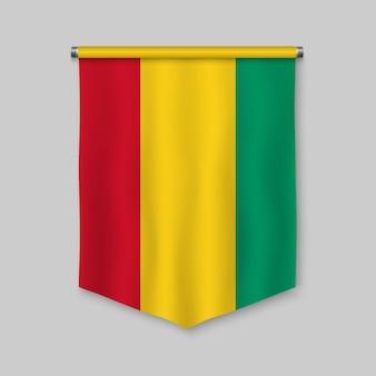 Fanion réaliste 3d avec le drapeau de la guinée
