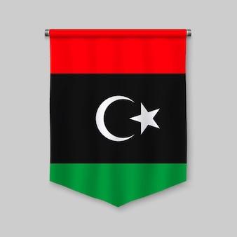 Fanion réaliste 3d avec le drapeau de la libye