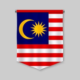 Fanion réaliste 3d avec le drapeau de la malaisie