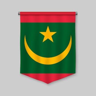Fanion réaliste 3d avec le drapeau de la mauritanie