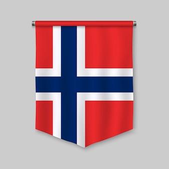 Fanion réaliste 3d avec le drapeau de la norvège