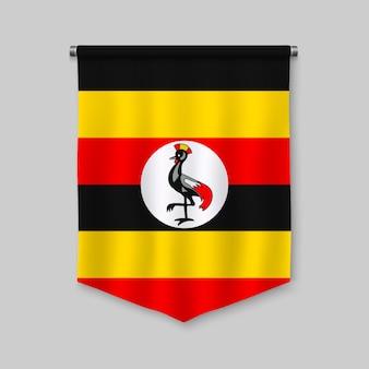 Fanion réaliste 3d avec le drapeau de l'ouganda