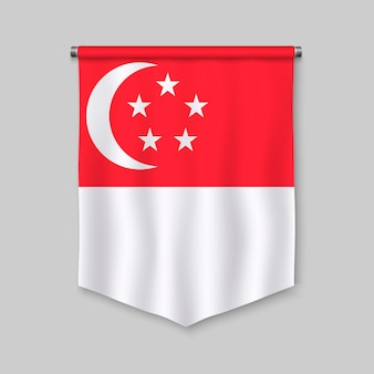 Fanion réaliste 3d avec le drapeau de singapour