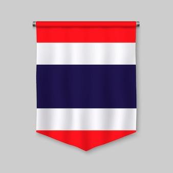 Fanion réaliste 3d avec le drapeau de la thaïlande