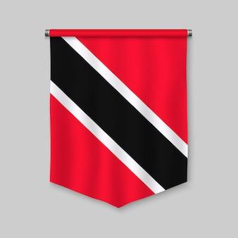 Fanion réaliste 3d avec le drapeau de la trinité-et-tobago