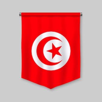 Fanion réaliste 3d avec drapeau de la tunisie