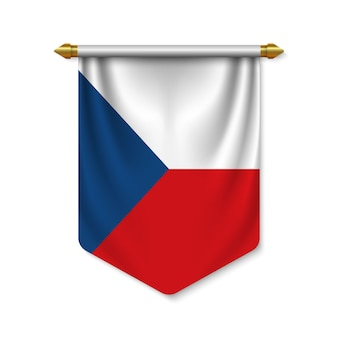 Fanion réaliste 3d avec drapeau