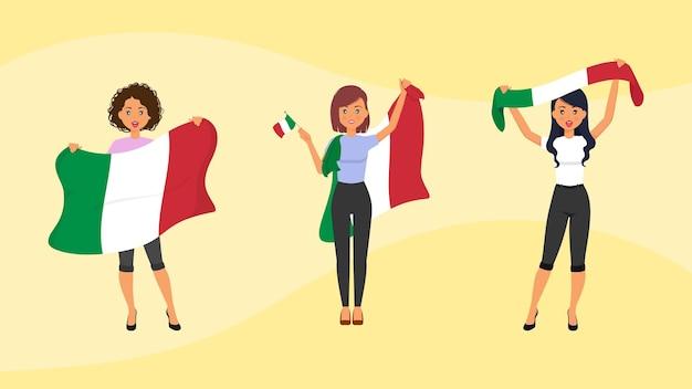 Les fans féminines italiennes avec des drapeaux soutiennent leur équipe sportive de pays