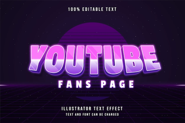 Fanspage youtube, effet de texte modifiable 3d dégradé rose style de texte ombre néon violet