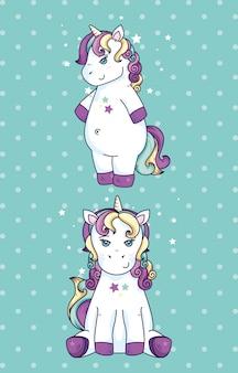 Fantaisie de licornes mignonnes avec décoration d'étoiles