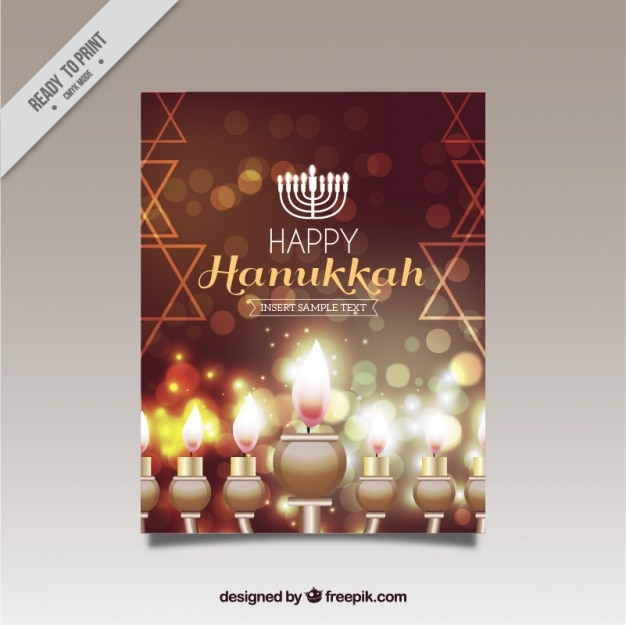 Fantastique carte de voeux de hanoucca avec des bougies brillantes
