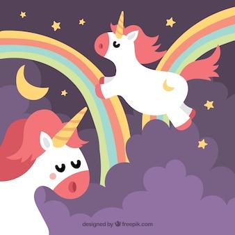 Fantastique fond d'arc-en-ciel avec des licornes