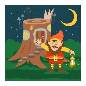 Fantastique gnome maison vecteur cartoon fée cabane dans les arbres village de magie