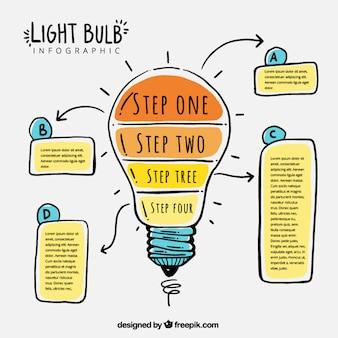 Fantastique infographique ampoule avec quatre étapes