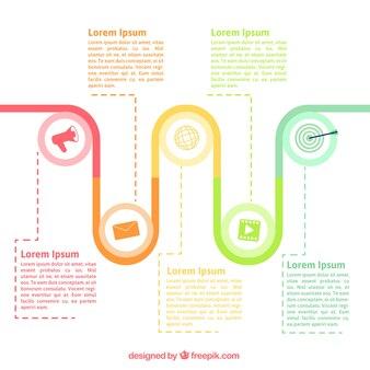 Fantastique infographique chronologique avec des icônes colorées