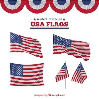Fantastiques drapeaux américains à la main