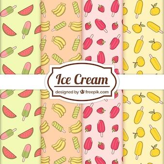 Fantastiques motifs d'été avec des fruits et des glaces